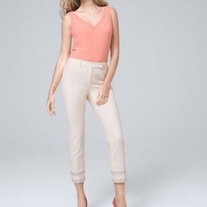 NWT WHBM Embroidered Hem Straight Cropped Pants